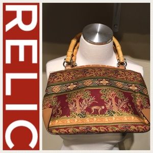 Relic monkey print bag with wood handles
